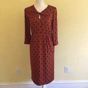 Boden Rust Polka Dot Silk Day Dress